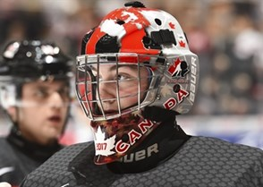 TORONTO, CANADA - DECEMBER 26: Canada's Connor Ingram #1 during warm ups before Canada's game against Russia in the preliminary round - 2017 IIHF World Junior Championship. (Photo by Matt Zambonin/HHOF-IIHF Images)