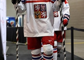 MONTREAL, CANADA - DECEMBER 27: The Czech Republic's David Kase #22 walks towards the ice surface for warm-up prior to preliminary round action against Switzerland at the 2017 IIHF World Junior Championship. (Photo by Andre Ringuette/HHOF-IIHF Images)