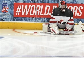 TORONTO, CANADA - DECEMBER 26: Canada's Connor Ingram #1 stretches during warm up prior to preliminary round action against Slovakia at the 2017 IIHF World Junior Championship. (Photo by Matt Zambonin/HHOF-IIHF Images)