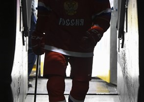 TORONTO, CANADA - DECEMBER 31: Russia's Yakov Trenin #25 enters the players tunnel following warm ups  during preliminary round action at the 2017 IIHF World Junior Championship. (Photo by Matt Zambonin/HHOF-IIHF Images)