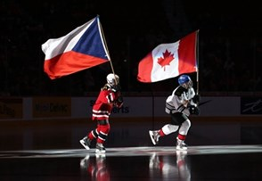 MONTREAL, CANADA - JANUARY 2: Canadian and Czech Republic flag bearers take to the for the opening ceremonies of the quarterfinal round game at the 2017 IIHF World Junior Championship. (Photo by Andre Ringuette/HHOF-IIHF Images)